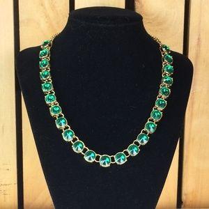 Emerald-green rhinestone necklace - H&M